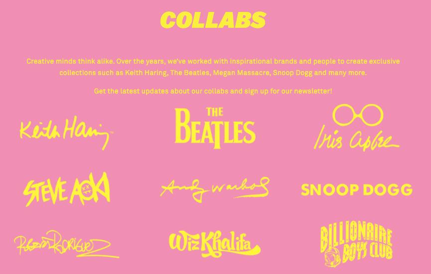 colaboraciones, the Beatles, Wiz Khalifa, Snoop Doog, Keith Haring
