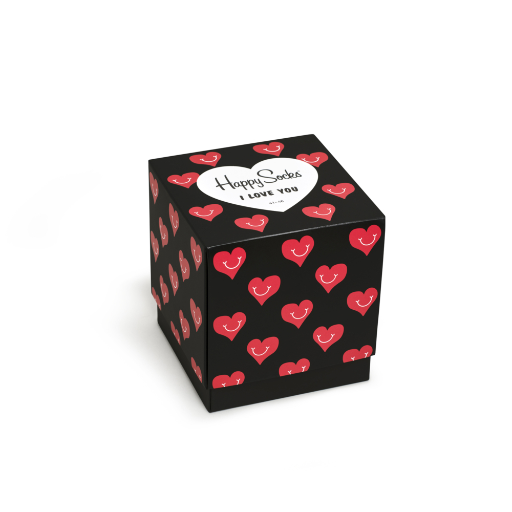 caja negra con corazones rojos sonrientes, logo y frase I LOVE YOU