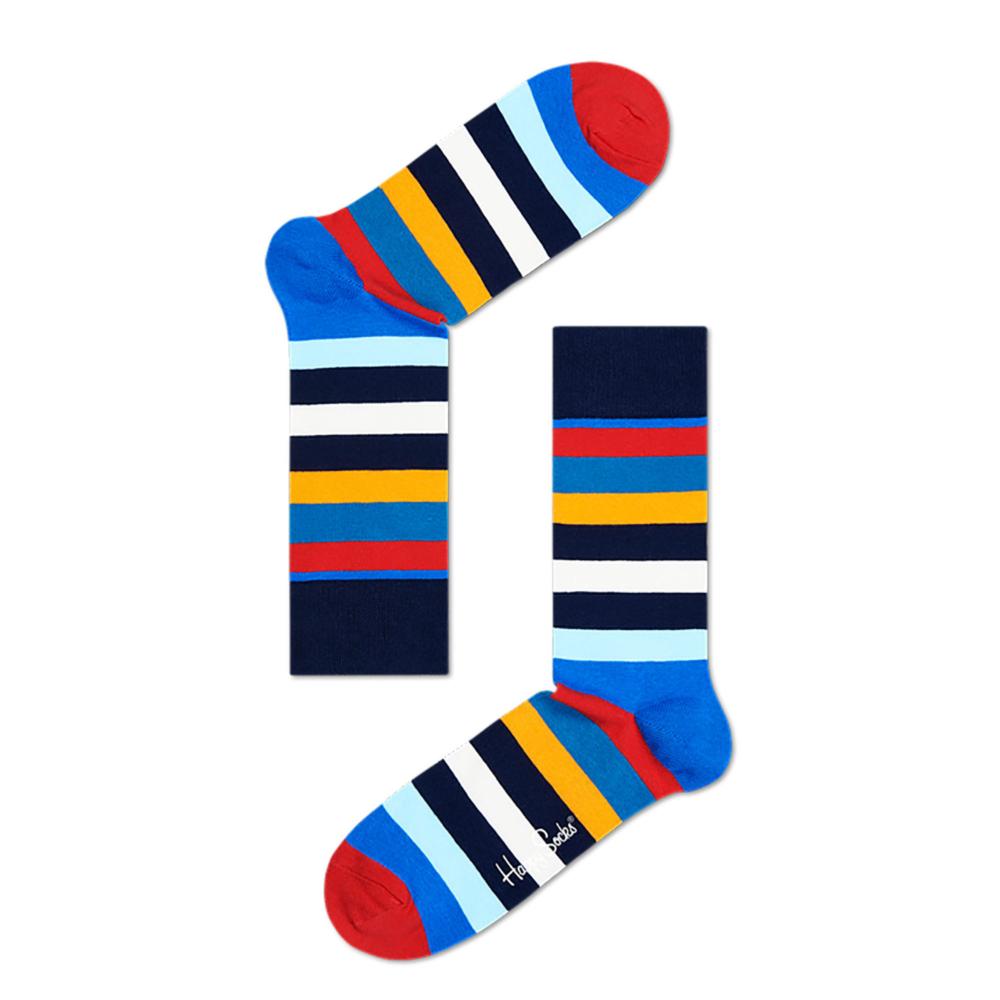 par de calcetines a rayas azul, rojo, amarillo, blanco