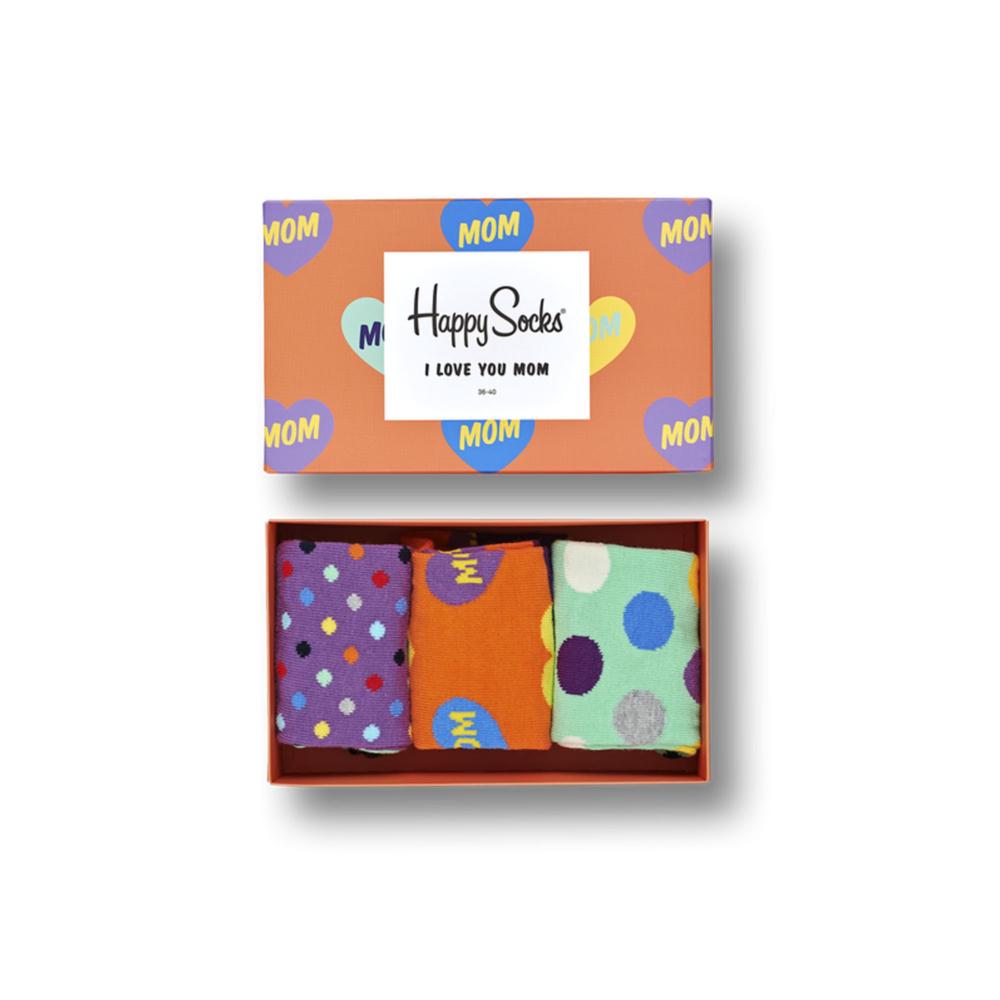 caja diseño para mamá, tres pares de calcetines coloridos al interior